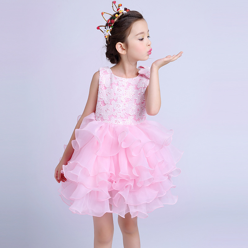 Dresses for girls Party Girls's Layered Dresses Children Pink Flower Girl Vestidos Fashion Kids Clothes For 6 8  10 12 14 Years