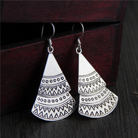 Real Pure 925 Sterling Silver Handmade Exaggerated Bohemia Earrings For Women Double Layers Sector Shaped