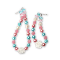 2015 Newest 1 Set Beautiful DIY Rose Flower Kids Chunky Bead Necklace Parent Child Chunky Necklace