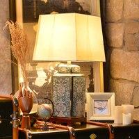 Современная роскошь свет ручная роспись синий керамика настольная лампа гостиная спальня прикроватная ткань абажур дома освещение Fixtrues