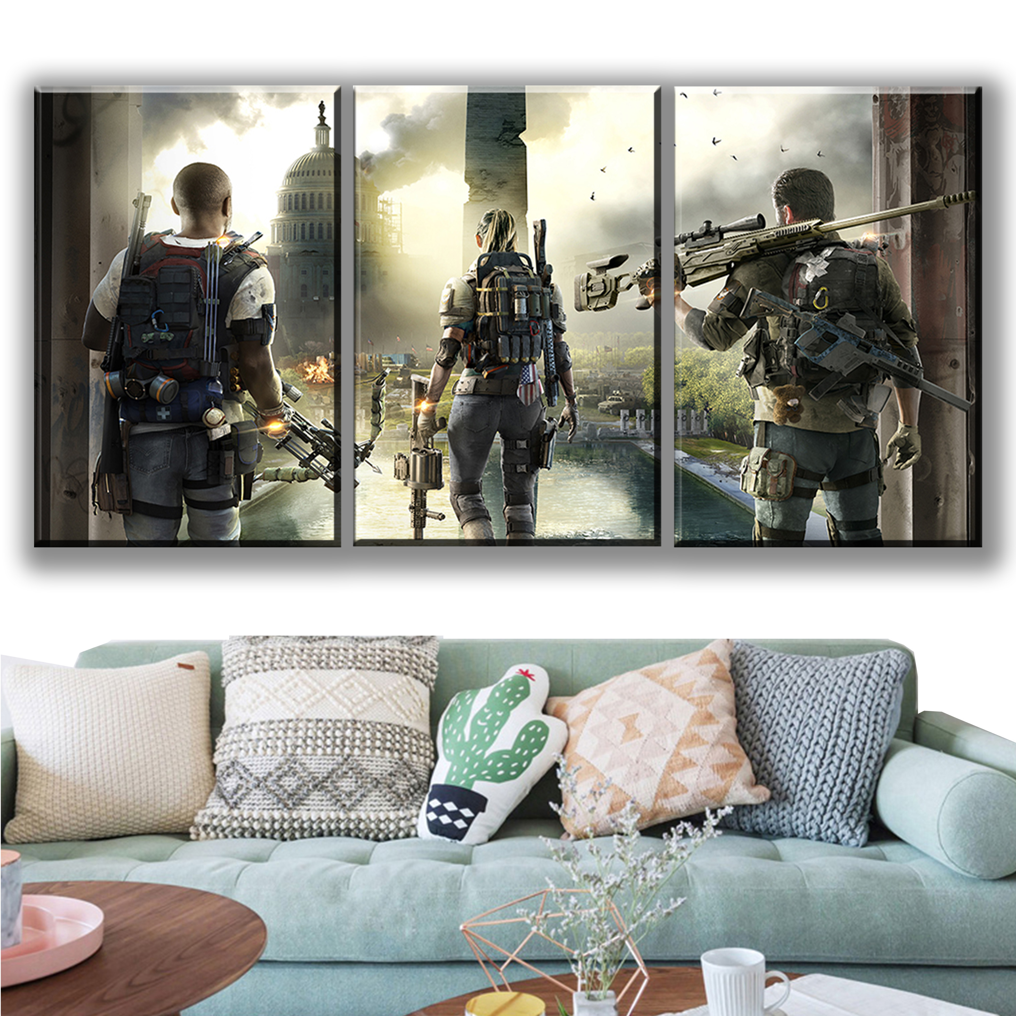 3 Piece Tom Clancys The Division 2 Game Poster HD Pictures Canvas Art Wall Modern Printing Paintings for Home Decor