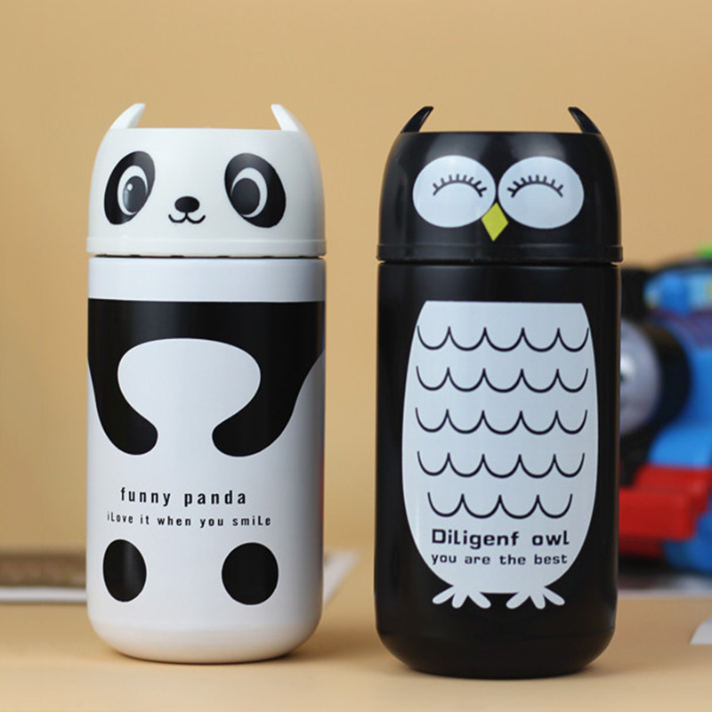 2018 New Hot Sale Thermoses Mug Vacuum Flask 220mL Stainless Steel Cute Panda Owl Cup Hot Water Thermoses Bottle Free Shipping