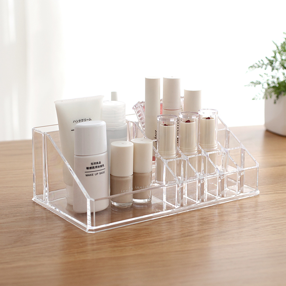 2018 New Korean Large Transparent Simple Desktop Cosmetics Storage Box Household Dresser Plastic Lipstick Rack in Storage Boxes Bins from Home Garden