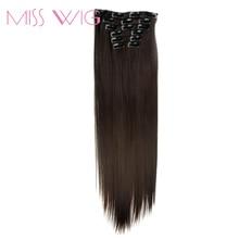 Мисс парик 15 Цвета доступны 24 inchs 16 Зажимы в наращивание волос прямой прическа синтетических шиньоны 140 г накладные волосы