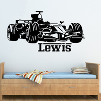 CP86 BOY RACING CAR Vinyl Wall Sticker Home Decor Personalized Baby Names Wall Stickers For Boys