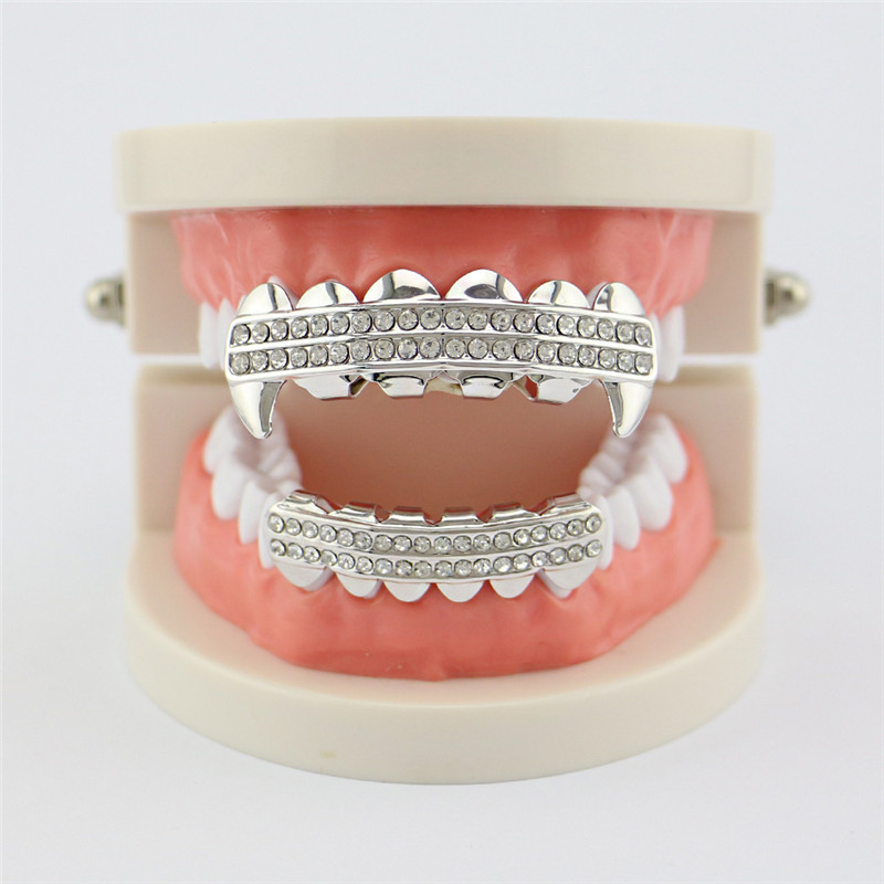 Punk Gold Zähne Grillz 2 Row Iced Out Grills Dental Hip Hop Vampir - Modeschmuck - Foto 6