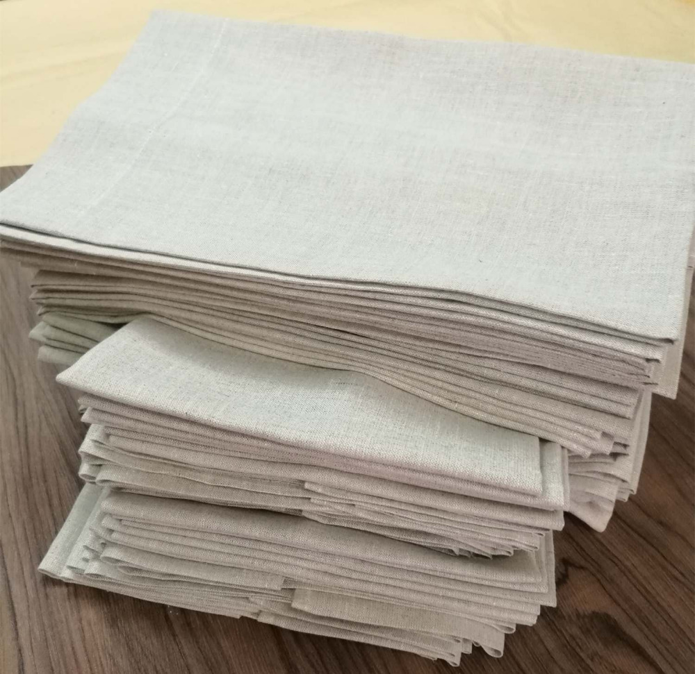 Set Of 12 Fashion Oatmeal Linen Handkerchiefs 14x22