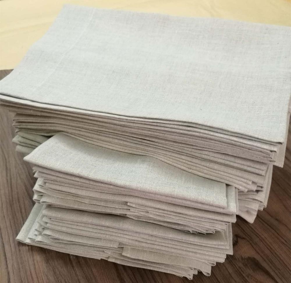 Set Of 12 Fashion Oatmeal Linen Handkerchiefs 14x22