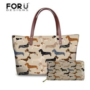 FORUDESIGNS Handbags&Wallet Women Dachshund Dog Printing Shoulder Tote Bags for Travel Organizer Handbag Females Top-Handle Bags(China)