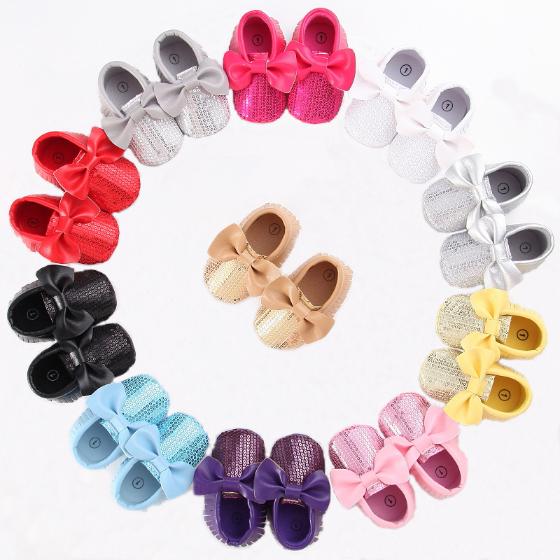 Baby Shoes Baby Moccasins First Walkers Footwear For Newborns Spring Autumn New Tassel Bows Sequin Toddler Soft Soled Crib Shoes
