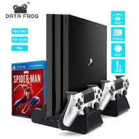 3 in 1 For PS4/PS4 Slim/PS4 PRO Vertical Stand With Dual Controller Charger Station Games For Sony Playstation 4 Cooling Fan