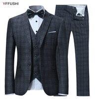 Yffushi 2018 Новое поступление мужской костюм комплект из 3 предметов в клетку Костюмы жениха Нарядные Костюмы для свадьбы для Для мужчин Бизнес