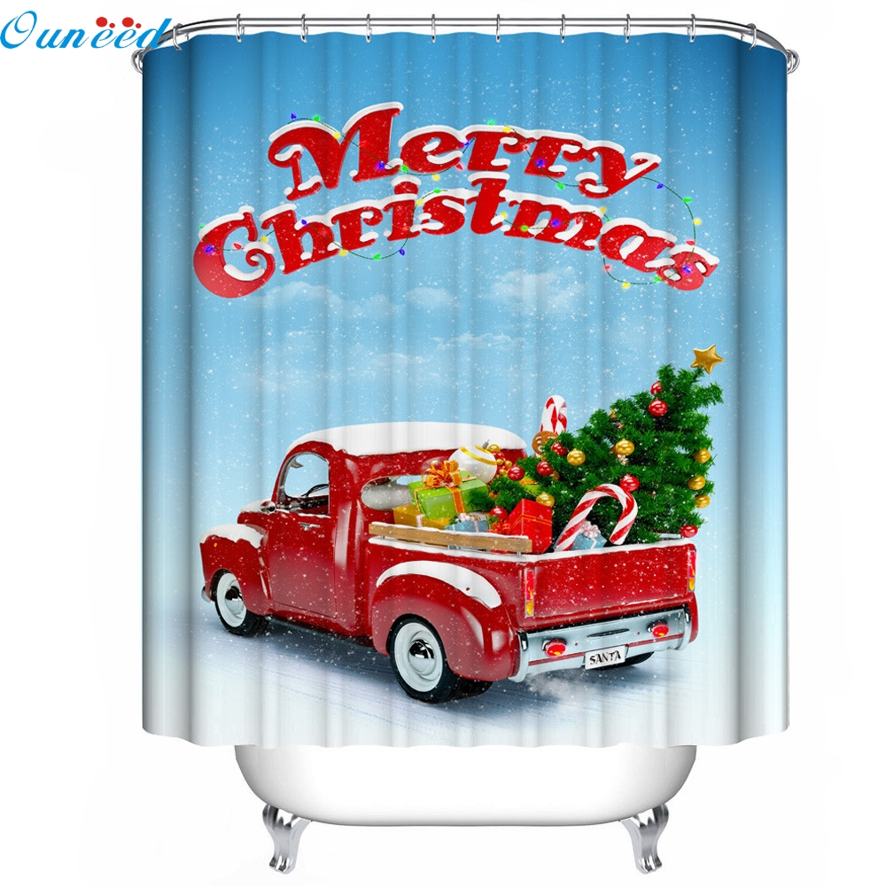 2017 Hot sale Christmas Waterproof Polyester Bathroom Shower Curtain Decor With Hooks New Fashion Heaven mar18