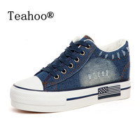 NEW Fashion 2016 Women Shoes Lace Up Casual Denim Canvas Shoes Women Platform Casual Ladies Shoes