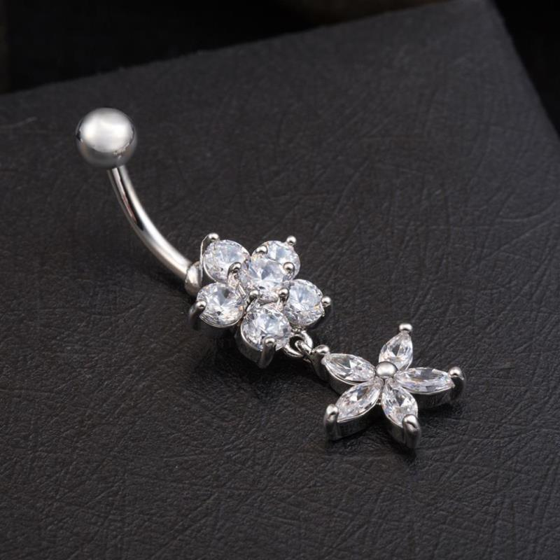 Us 2 25 Star Flower Cz Belly Button Piercings Jewelry Womens Sexy Belly Button Ring Long Dangle Clear Navel Bar Body Jewelry Piercing In Body