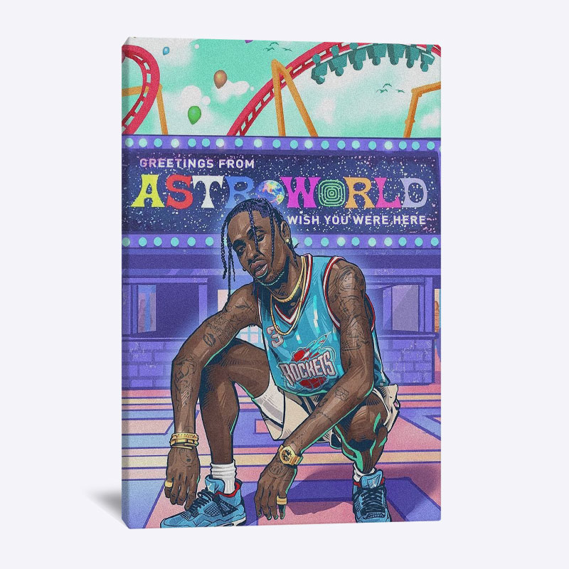 Travis Scott Rapper Home Kids Baby living Room Bedroom Poster Picture Painting wooden frame Decor Print Wall Art Canvas frame