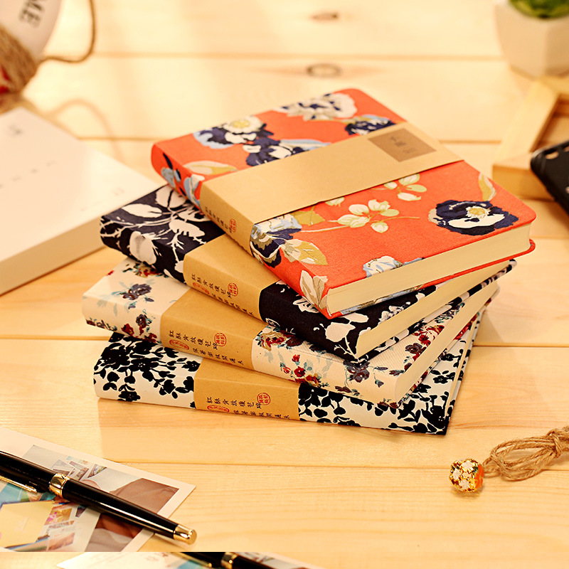 Creative Chinese style retro floral boutique notebook agenda 2017 material escolar kawaii sketchbook planner dokibook stationery freeshipping retro handmade stitching binding cloth covered notebook chinese style lotus printing notebook