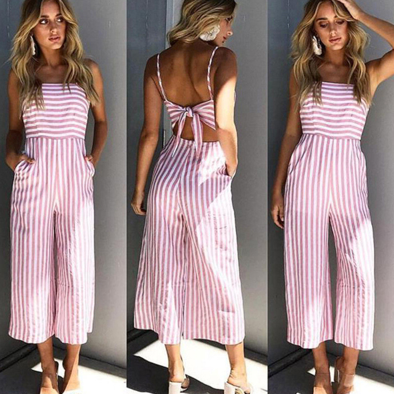 Ursohot Pink Striped Off Shoulder Wide Leg   Jumpsuit   Women 2018 Summer Beach Sexy Strap Backless Bow Rompers Streetwear Overalls