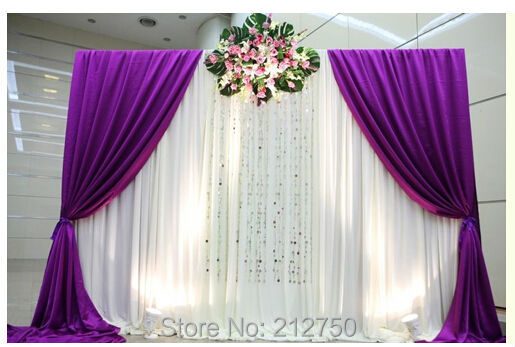 Charming Wholesale Free Shipping New Wedding Backdrop Curtains Sign Table Background  Wedding Drapes 3m Height*3m Wide
