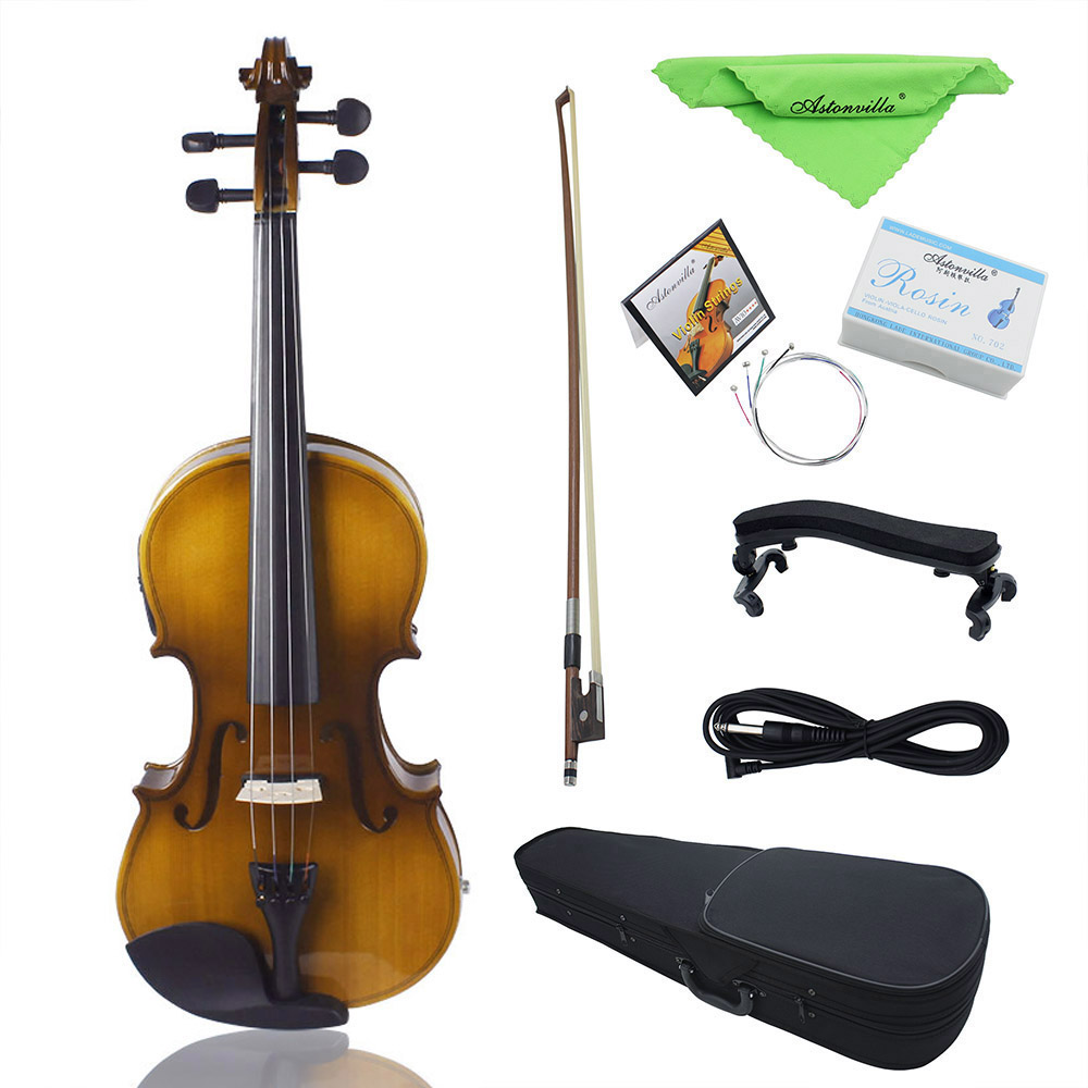 4/4 Full Size Acoustic EQ Electric Violin Fiddle Kit  with Bow Hard Case Clean Cloth Audio Cable Solid Wood Spruce Face Board4/4 Full Size Acoustic EQ Electric Violin Fiddle Kit  with Bow Hard Case Clean Cloth Audio Cable Solid Wood Spruce Face Board