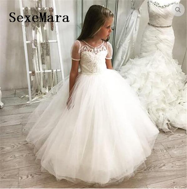 Luxury White flower girl dresses for wedding beaded kids evening ball gowns little girls pageant dresses first communion dress