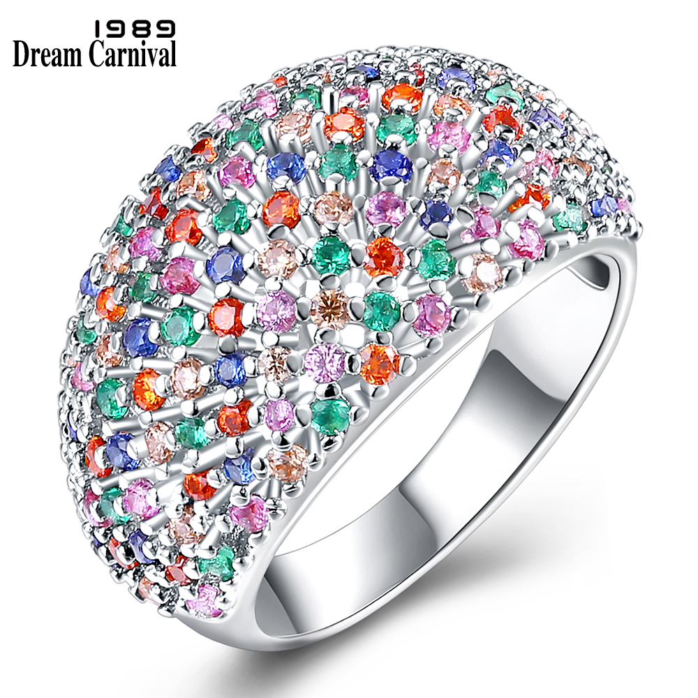 DreamCarnival 1989 Awesome Mix Colorful Micro Pave Setting Cubic Zircon Jewelry Design Rings for Women Anillos Mujer SJ30709