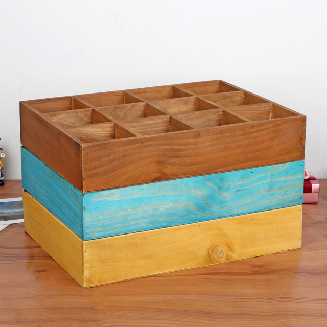 Home Decoration Wooden Box Wall Hanging Storage Holder Bedside 12 Section  Divided 3 Layer Sorting Storage