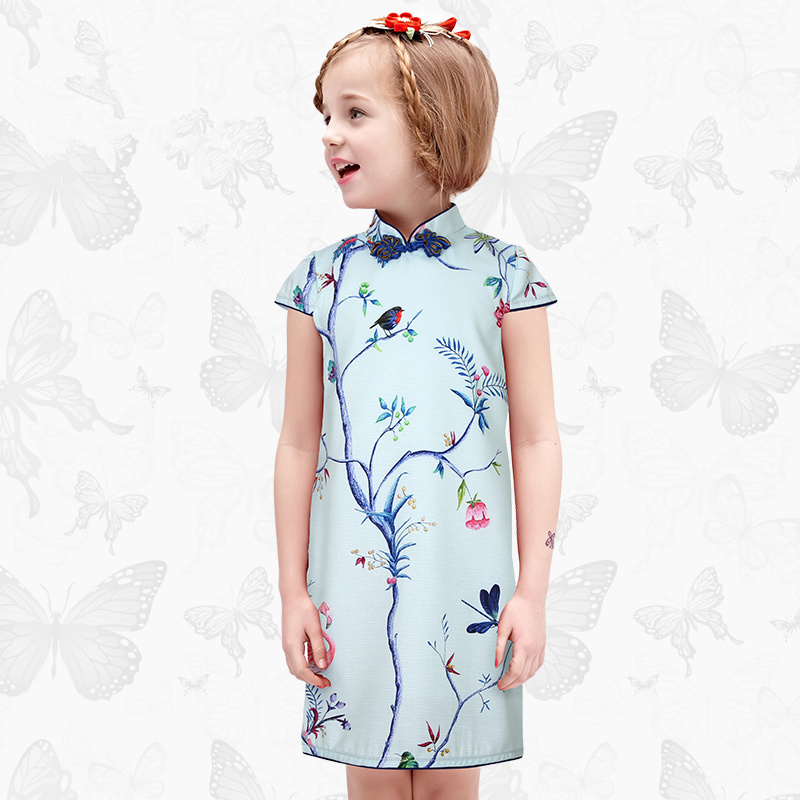 WLMonsoon child Cheongsam Skirt Girls summer Baby dress Slim fit folk-custom dress Parent-child mother and daughter dress