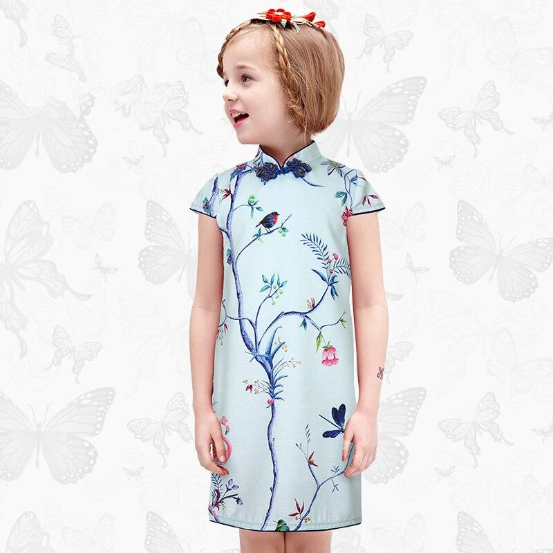 W. L. Monsoon enfant Cheongsam jupe filles été bébé robe Slim fit folk-personnalisé robe Parent-enfant mère et fille robe