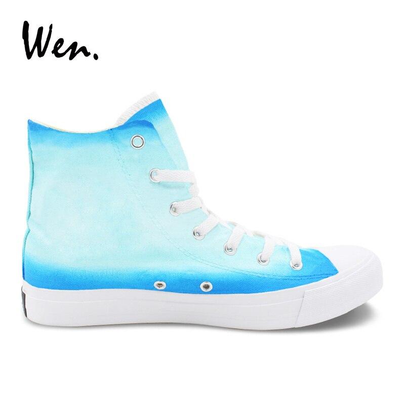 Toile Main Top Espadrilles Peint Sneakers Wen La High Conception D'origine Pissenlit Chaussures Homme Laçage Plat Tennis À Femme qSMVUpGz