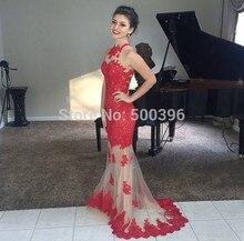 Red Appliques Abendkleid Nixe-abschlussball Kleider 2017 Sheer Tüll Bodenlangen Formale Kleid vestidos de fiesta Elegante