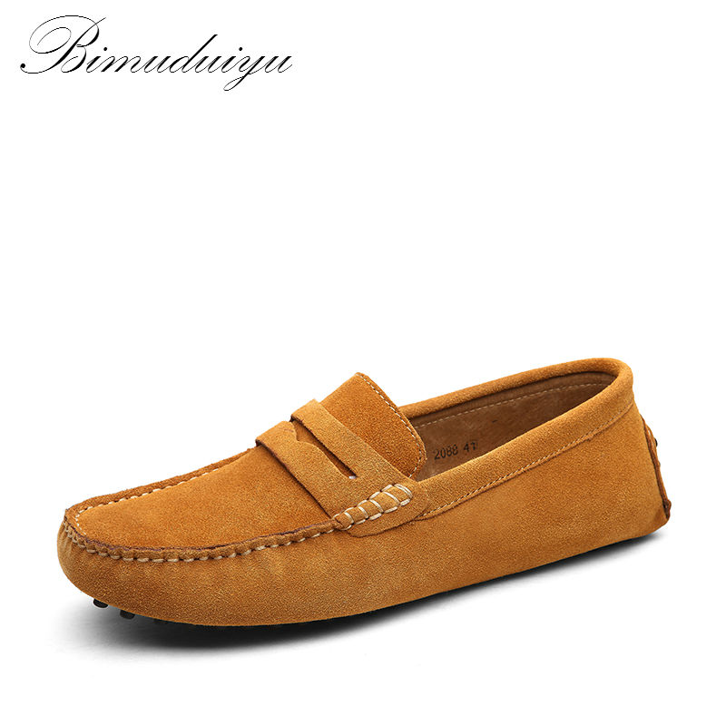 BIMUDUIYU Brand Mens Casual Shoes Fashion Peas Shoes Suede Leather Men Loafers Moccasins Slip On Men's Flats Male Driving Shoes branded men s penny loafes casual men s full grain leather emboss crocodile boat shoes slip on breathable moccasin driving shoes