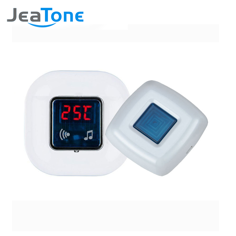 JeaTone Wireless door Bell Chime Temperature Monitoring  Function 1 Outdoor Transmitter + 1 Indoor Receiver Door Bell  36 Melody new restaurant equipment wireless buzzer calling system 25pcs table bell with 4 waiter pager receiver