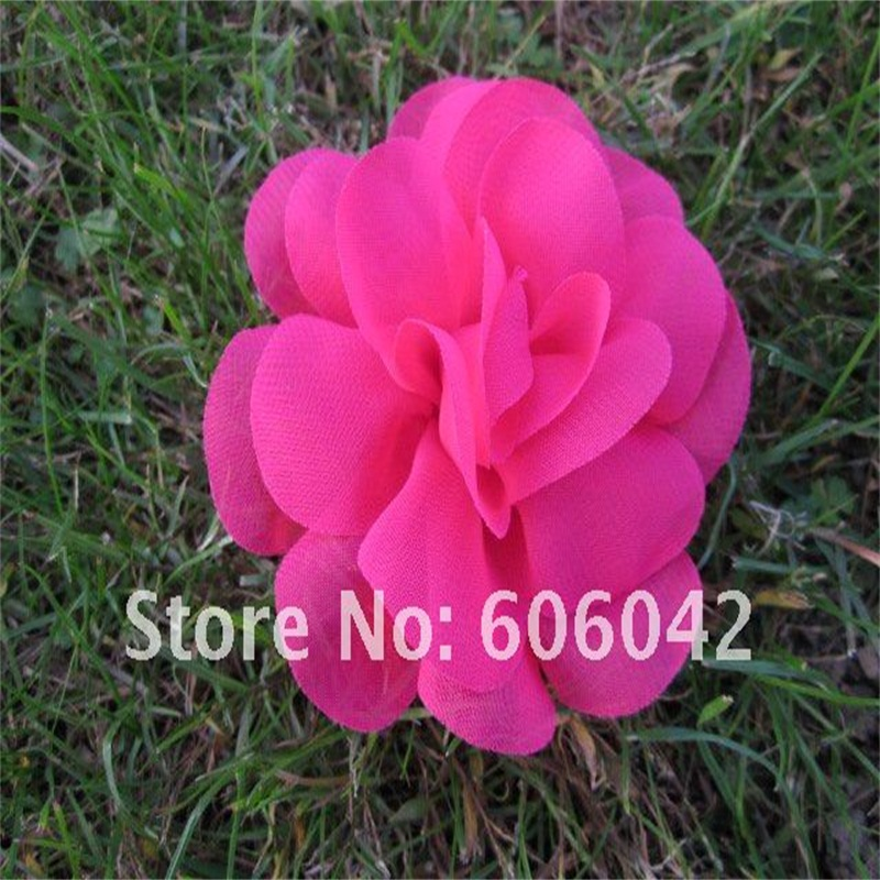 """XIMA Free shipping!70pcs/lot 4.5""""Chiffon Silk  Rosette Flowers WITHOUT Clip High Quality Fashion Handmade For  Hair Accessories"""