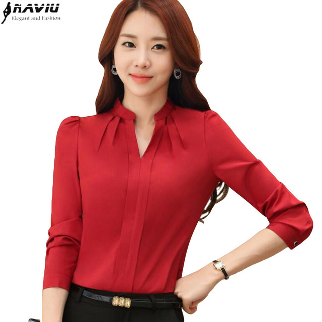 Spring elegant red women shirt formal slim v-neck long-sleeve chiffon blouse  office ladies plus size work wear tops white black 20ae4e5a0746