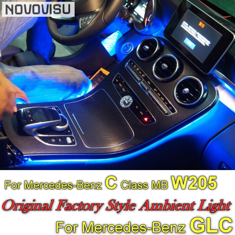 For Mercedes Benz C MB W205 GLC 2014~2019 Dashboard NOVOVISU Interior OEM Original Factory Atmosphere advanced Ambient Light luces led de policía