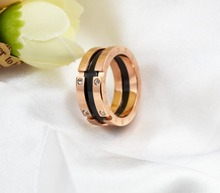 HFYK Fashion Black Unique LOVE Letter Rings For Women Rose Gold Color Stainless Steel BELOVED Rings Lovers' Rings aneis anillos