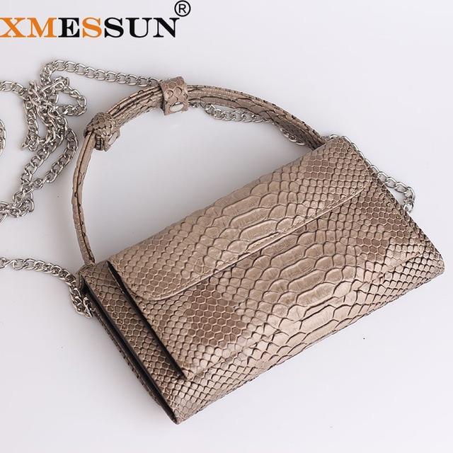 100% bolso de cuero genuino con patrón de Pitón, bolso de lujo de marca de piel de serpiente, bolso de hombro de diseñador, bolso de cuerpo cruzado Dropshipping