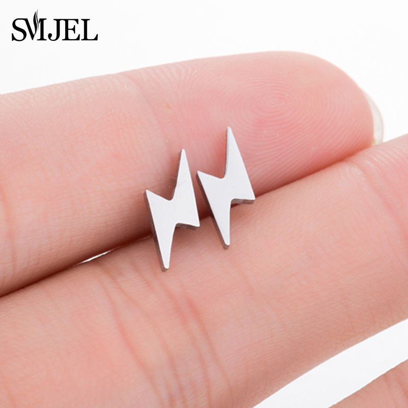 SMJEL Vintage Punk Thunder Earrings Pendientes Hombre Sliver Lightning Bolt Stud Earrings For Women Men Stainless Steel
