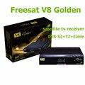 1080 P Full HD DVB-S2 + T2 + Cable V8 de Oro con 64 M Bits de FREESAT Serial Flash TV Vía Satélite receptor