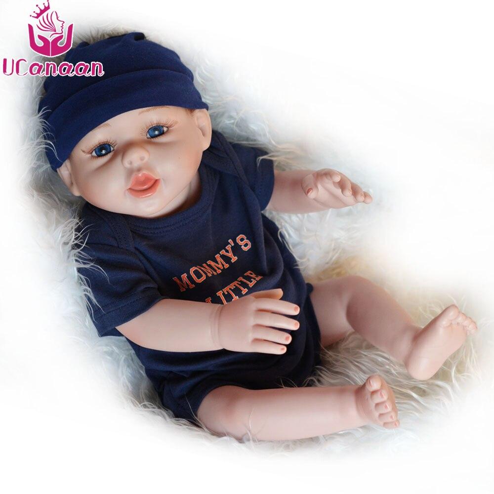 Ucanan 20 ''/50 CM muñeca de silicona suave Reborn muñecas Baby Boy para niños juguetes realistas para niñas metoo juguete-in Muñecas from Juguetes y pasatiempos    1