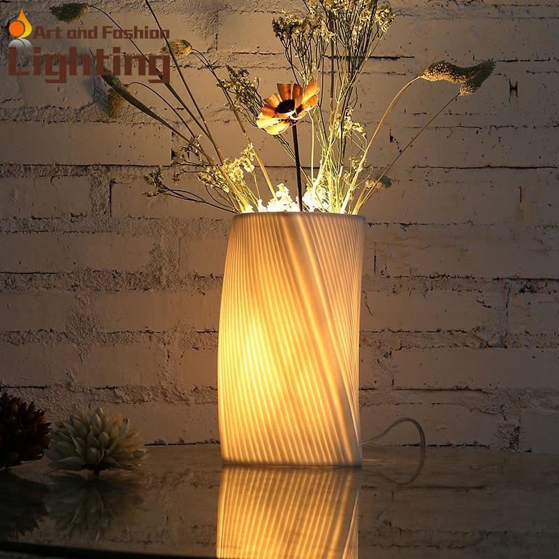 ФОТО Dry Flower Ceramic Table Lamp Decorative White Arts Bedside Lamp Living Room Countryside Lights