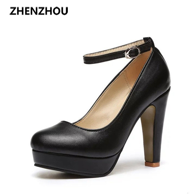 Free shipping Spring 2016 new European and American big yards fashion high heels shoes waterproof bandage thick with 10cm