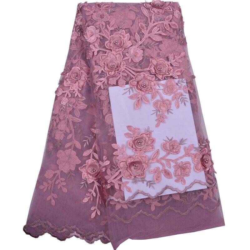 3 د الزهور عالية الجودة النيجيري الفرنسية الدانتيل تل الدانتيل المطرز النسيج لفستان الزفاف ، 2018 الظلام الوردي الدانتيل النسيج A1285-في دانتيل من المنزل والحديقة على  مجموعة 1