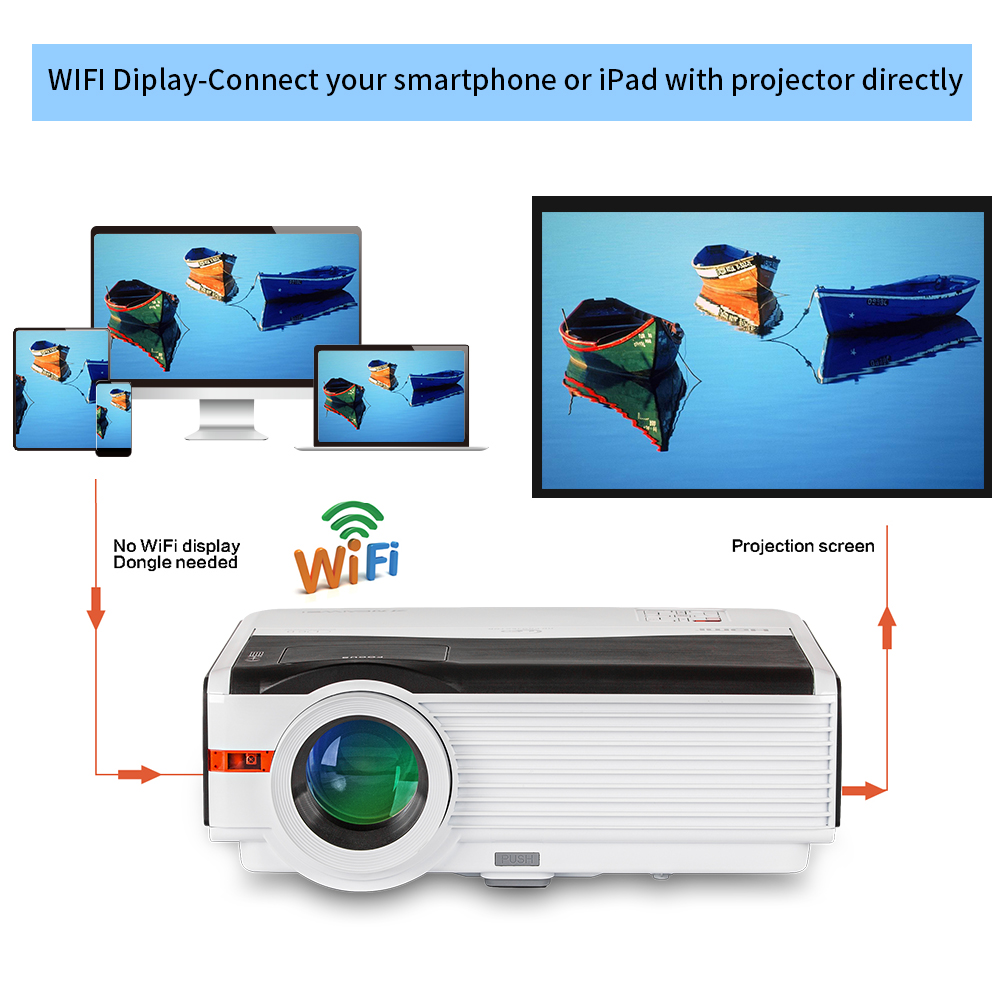 CAIWEI DVBT TV Full hd 1080p 5000lm WIFI LED Projector for Home ...