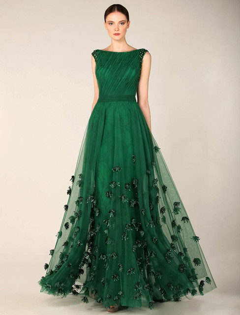 Modest Boat Neck Forest Green Prom Dresses 2017 Beaded Pleated With
