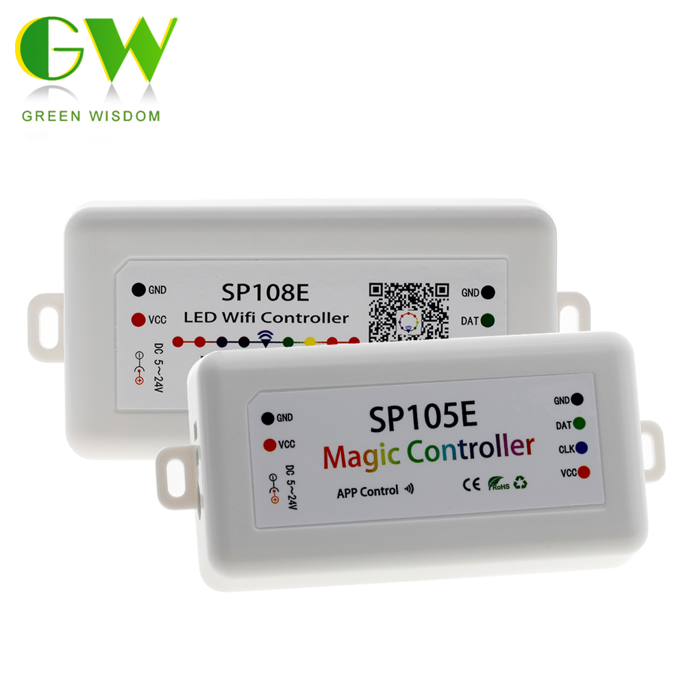 SP105E SP108E Magic Controller Bluetooth 4.0 DC5-24V 2048 Pixels For WS2811 2812 2801 6803 IC LED Strip Support IOS/Android APP