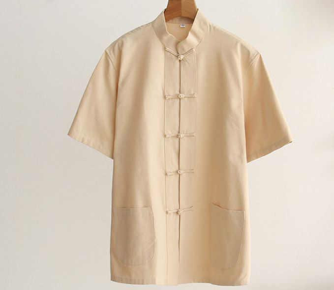 純粋な綿男性詠春半袖シャツ衣類夏武道カンフー太極拳制服唐スーツ