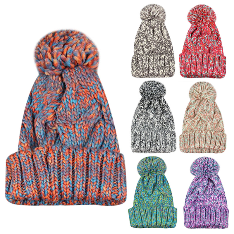 de punto de lana sombreros de invierno para las mujeres skullies sombrero de pompn de