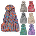 Wool Knitted 2017 Winter Hats for Women Fur pompom hat Skullies & Beanies Knit Cap Fur pom poms hat female bonnet femme
